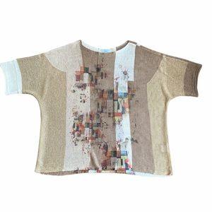 Terra Shimmering Geometric Print knit top